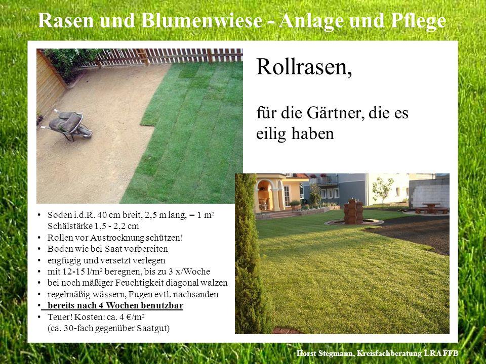 Horst Stegmann, Kreisfachberatung LRA FFB Rasen und Blumenwiese - Anlage und Pflege Rollrasen, für die Gärtner, die es eilig haben Soden i.d.R. 40 cm