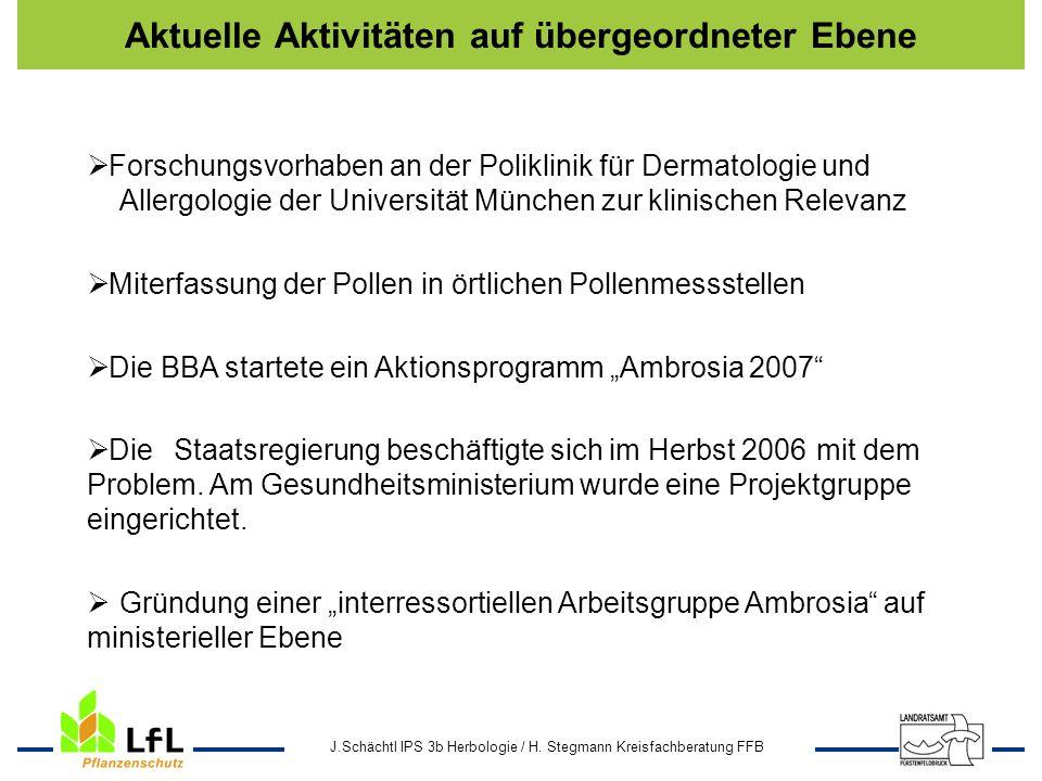 J.Schächtl IPS 3b Herbologie / H. Stegmann Kreisfachberatung FFB Aktuelle Aktivitäten auf übergeordneter Ebene Forschungsvorhaben an der Poliklinik fü