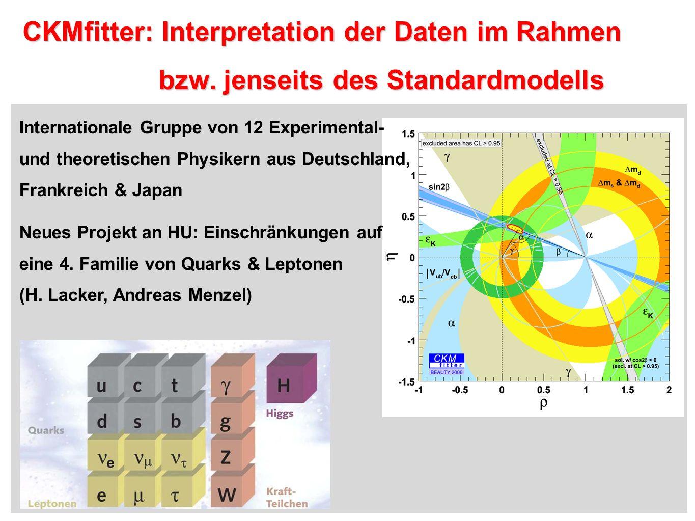 CKMfitter: Interpretation der Daten im Rahmen CKMfitter: Interpretation der Daten im Rahmen bzw. jenseits des Standardmodells bzw. jenseits des Standa