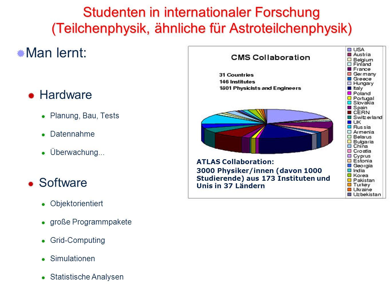 11 Studenten in internationaler Forschung (Teilchenphysik, ähnliche für Astroteilchenphysik) Man lernt: Hardware Planung, Bau, Tests Datennahme Überwa