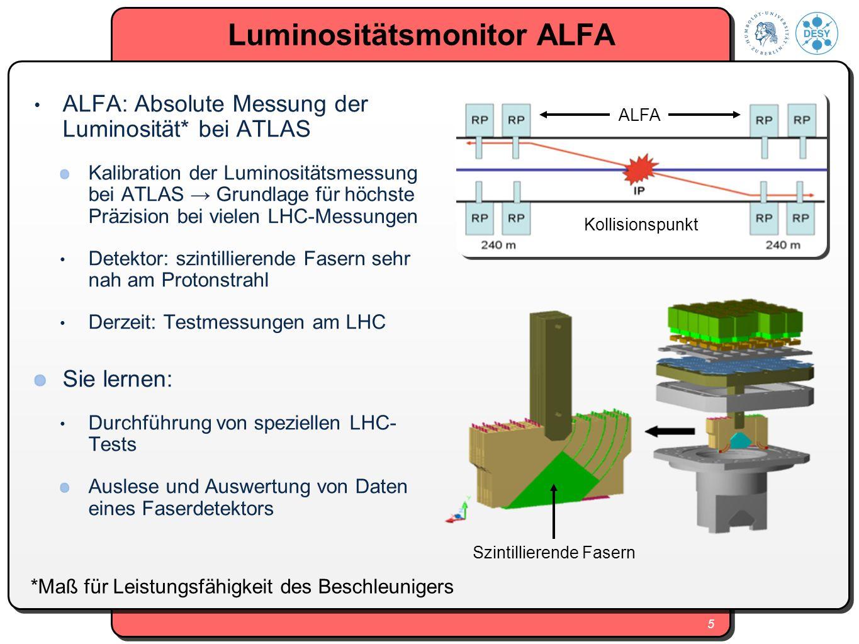 5 Luminositätsmonitor ALFA ALFA: Absolute Messung der Luminosität* bei ATLAS Kalibration der Luminositätsmessung bei ATLAS Grundlage für höchste Präzi