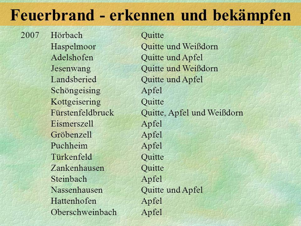 2007 Hörbach Quitte Haspelmoor Quitte und Weißdorn Adelshofen Quitte und Apfel Jesenwang Quitte und Weißdorn Landsberied Quitte und Apfel Schöngeising