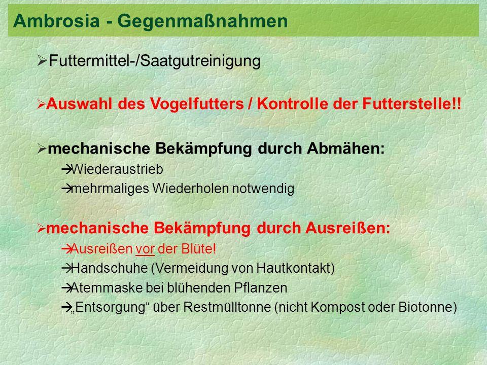 Futtermittel-/Saatgutreinigung Auswahl des Vogelfutters / Kontrolle der Futterstelle!! mechanische Bekämpfung durch Abmähen: Wiederaustrieb mehrmalige