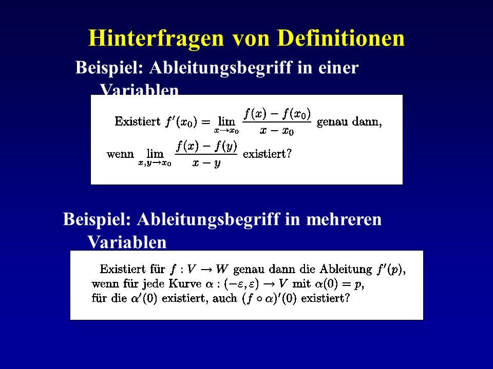 Hinterfragen von Definitionen Beispiel: Ableitungsbegriff in einer Variablen Beispiel: Ableitungsbegriff in mehreren Variablen