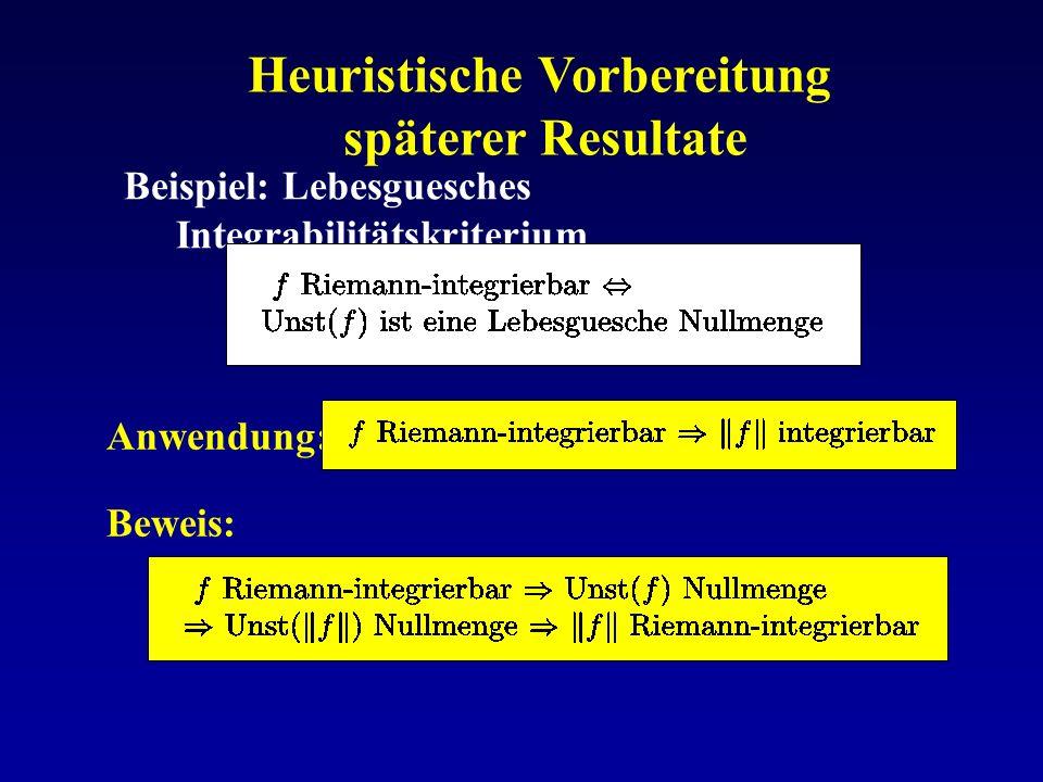 Heuristische Vorbereitung späterer Resultate Beispiel: Lebesguesches Integrabilitätskriterium Anwendung: Beweis: