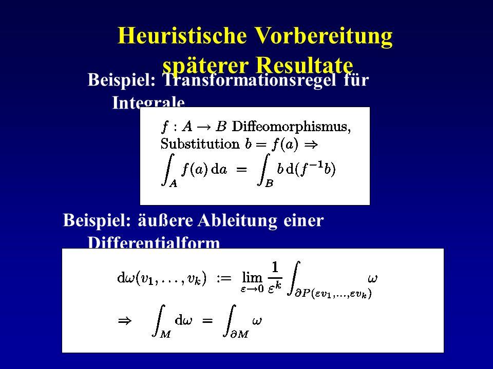 Heuristische Vorbereitung späterer Resultate Beispiel: Transformationsregel für Integrale Beispiel: äußere Ableitung einer Differentialform