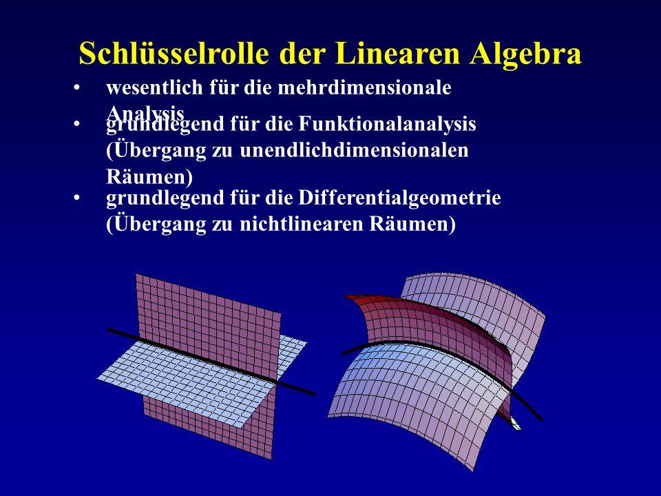 Schlüsselrolle der Linearen Algebra wesentlich für die mehrdimensionale Analysis grundlegend für die Funktionalanalysis (Übergang zu unendlichdimensio