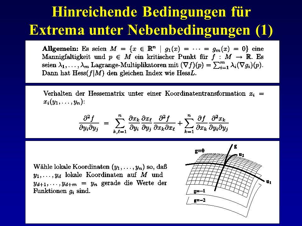 Hinreichende Bedingungen für Extrema unter Nebenbedingungen (1)