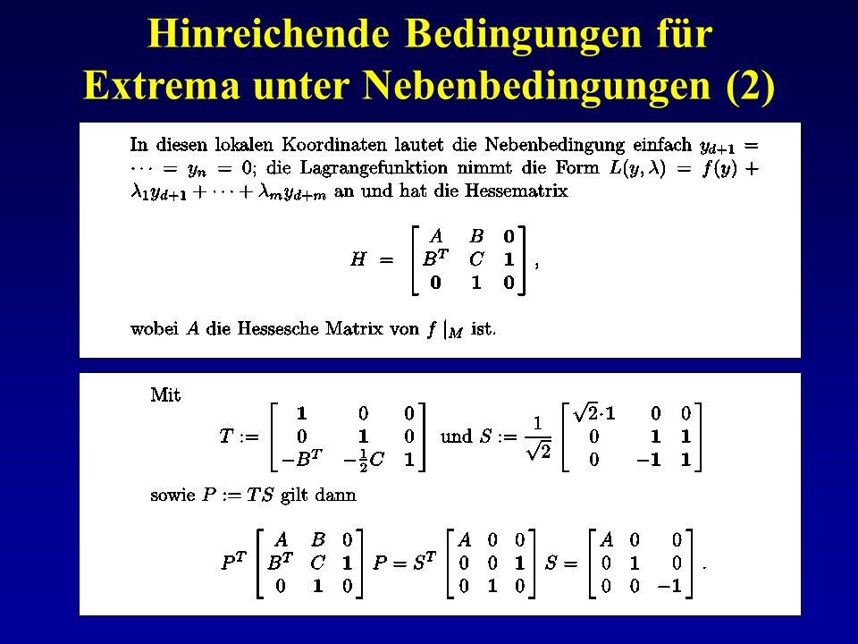 Hinreichende Bedingungen für Extrema unter Nebenbedingungen (2)