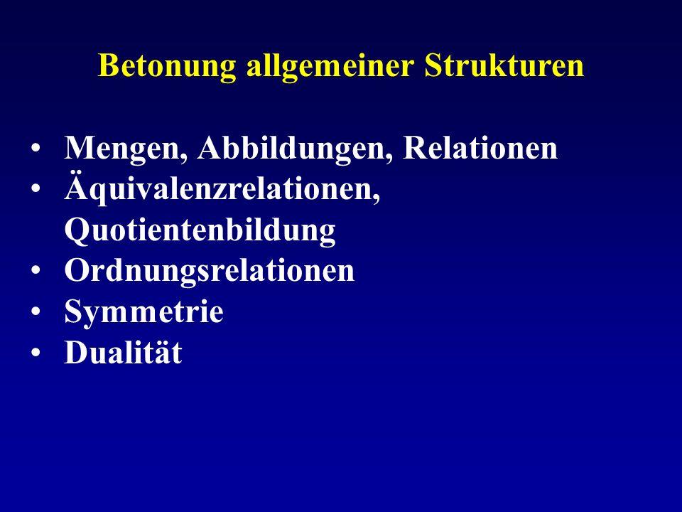 Betonung allgemeiner Strukturen Mengen, Abbildungen, Relationen Äquivalenzrelationen, Quotientenbildung Ordnungsrelationen Symmetrie Dualität