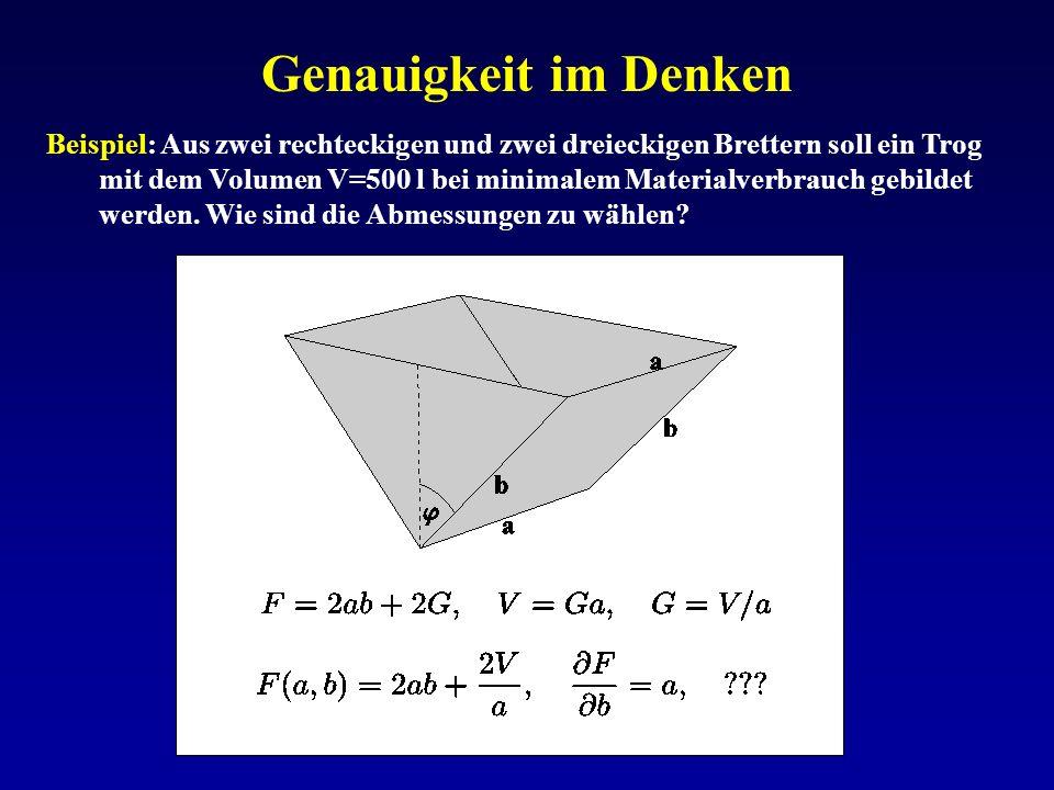 Genauigkeit im Denken Beispiel: Aus zwei rechteckigen und zwei dreieckigen Brettern soll ein Trog mit dem Volumen V=500 l bei minimalem Materialverbra