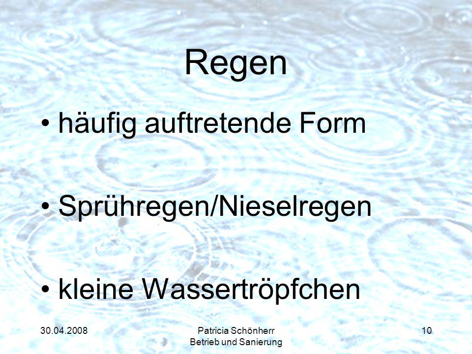 30.04.2008Patricia Schönherr Betrieb und Sanierung Regen häufig auftretende Form Sprühregen/Nieselregen kleine Wassertröpfchen 10
