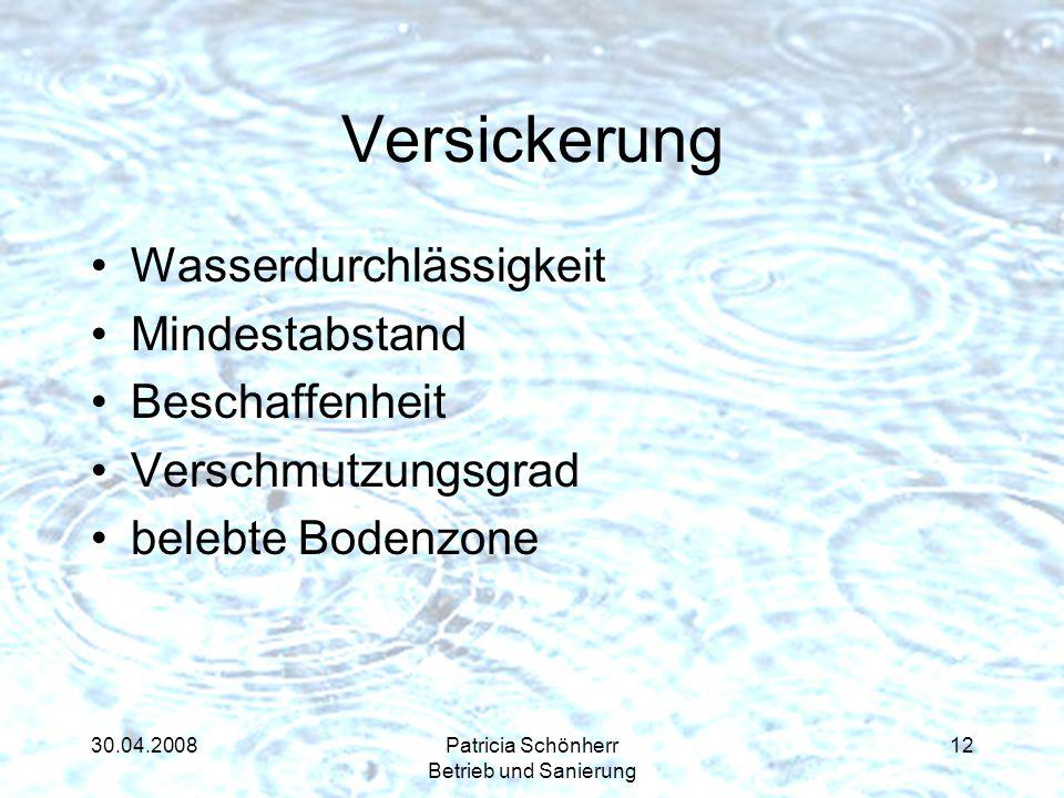 30.04.2008Patricia Schönherr Betrieb und Sanierung Versickerung Wasserdurchlässigkeit Mindestabstand Beschaffenheit Verschmutzungsgrad belebte Bodenzo