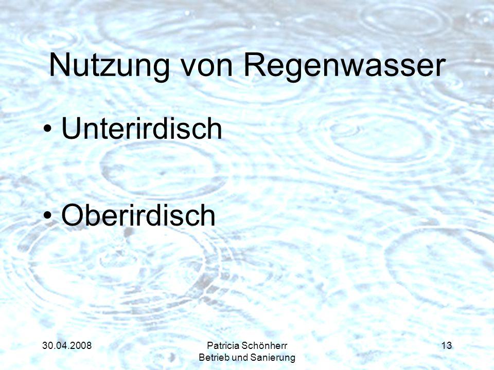30.04.2008Patricia Schönherr Betrieb und Sanierung Nutzung von Regenwasser Unterirdisch Oberirdisch 13