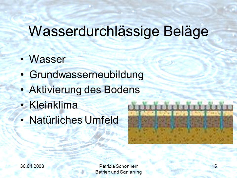 30.04.2008Patricia Schönherr Betrieb und Sanierung Wasserdurchlässige Beläge Wasser Grundwasserneubildung Aktivierung des Bodens Kleinklima Natürliche