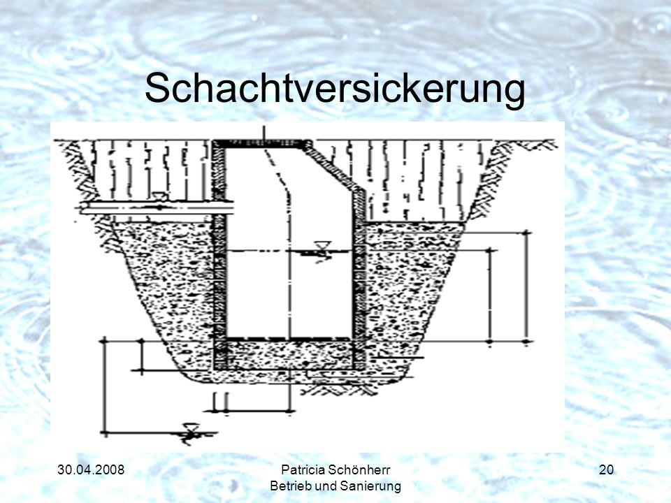 30.04.2008Patricia Schönherr Betrieb und Sanierung Schachtversickerung Sehr geringer Flächenbedarf Gutes Retentionsvermögen Wenig eingeschränkte Nutzb
