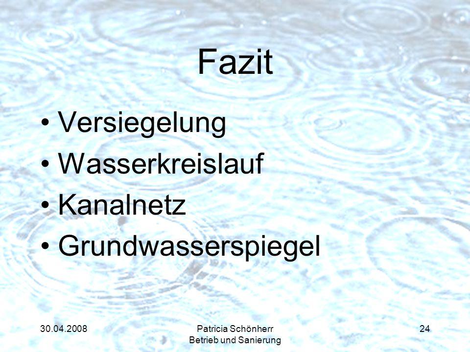 30.04.2008Patricia Schönherr Betrieb und Sanierung Fazit Versiegelung Wasserkreislauf Kanalnetz Grundwasserspiegel 24