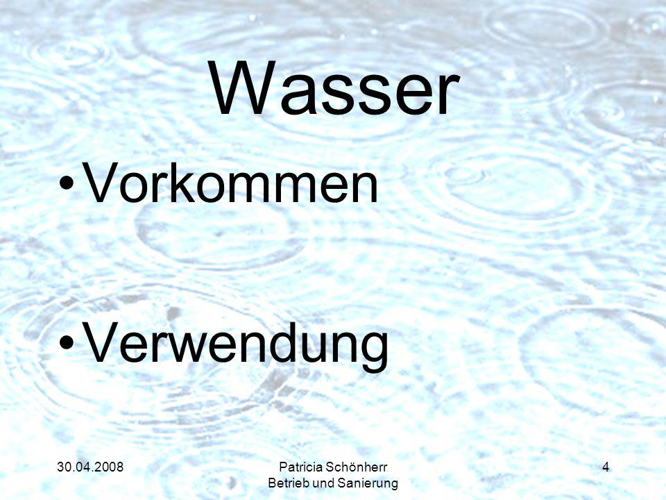 30.04.2008Patricia Schönherr Betrieb und Sanierung Wasser Vorkommen Verwendung 4