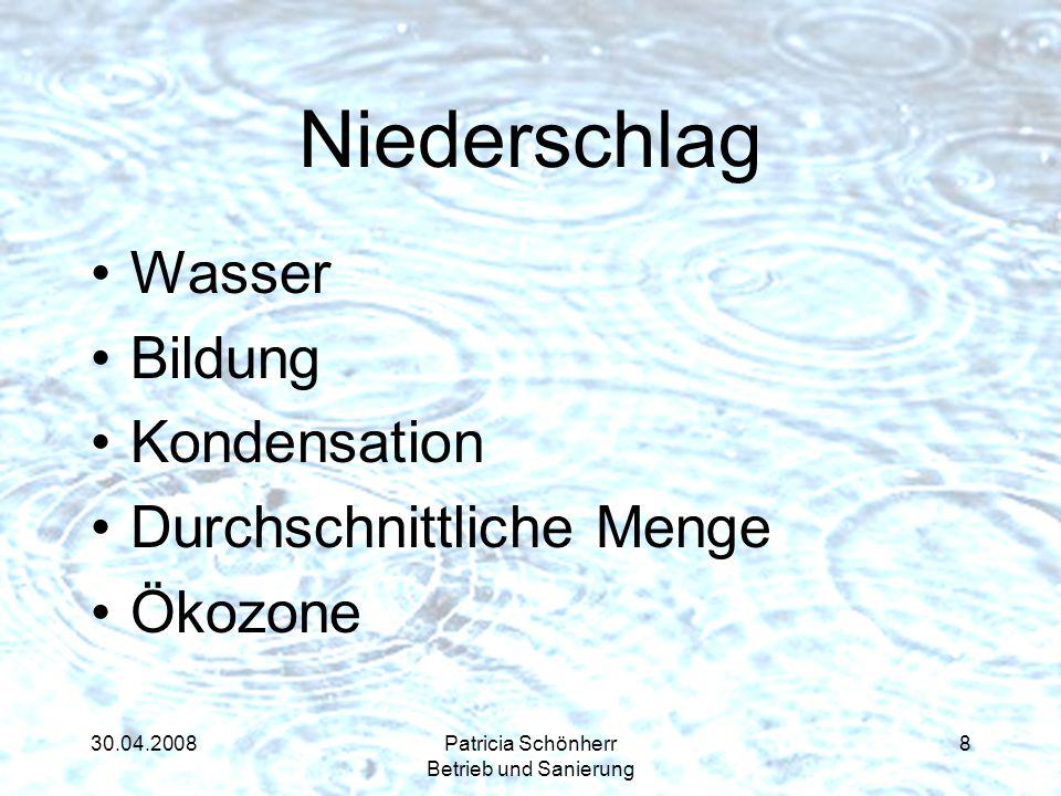 30.04.2008Patricia Schönherr Betrieb und Sanierung Niederschlag Wasser Bildung Kondensation Durchschnittliche Menge Ökozone 8