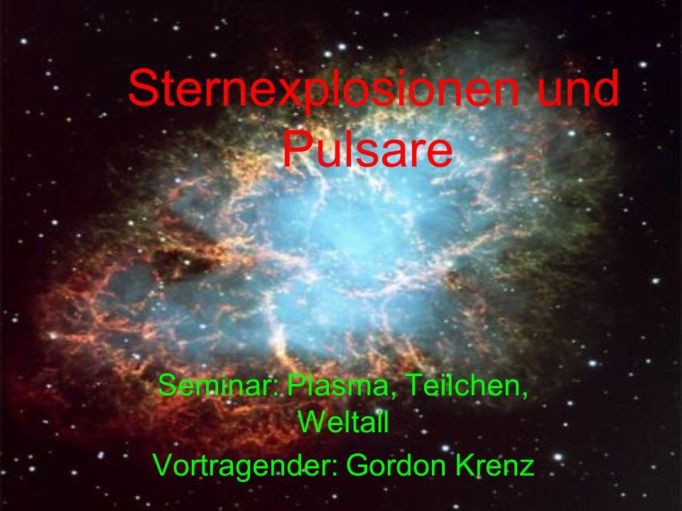Aufbau eines Neutronensterns Oberfläche aus metallischen Eisen; ρ=10 6 g cm -3 (Eisenkerne in einem Elektronensee) äußere Kruste; ρ=4.3·10 11 g cm -3 (neutronenreiche Atomkerne und Elektronen) innere Kruste; ρ=2·10 14 g cm -3 (neutronenreiche Atomkerne, Elektronen und Atomkerne) Neutronenflüssigkeit; ρ=10 15 g cm -3 (hauptsächlich Neutronen sowie einige Elektronen und supraleitende Protonen)