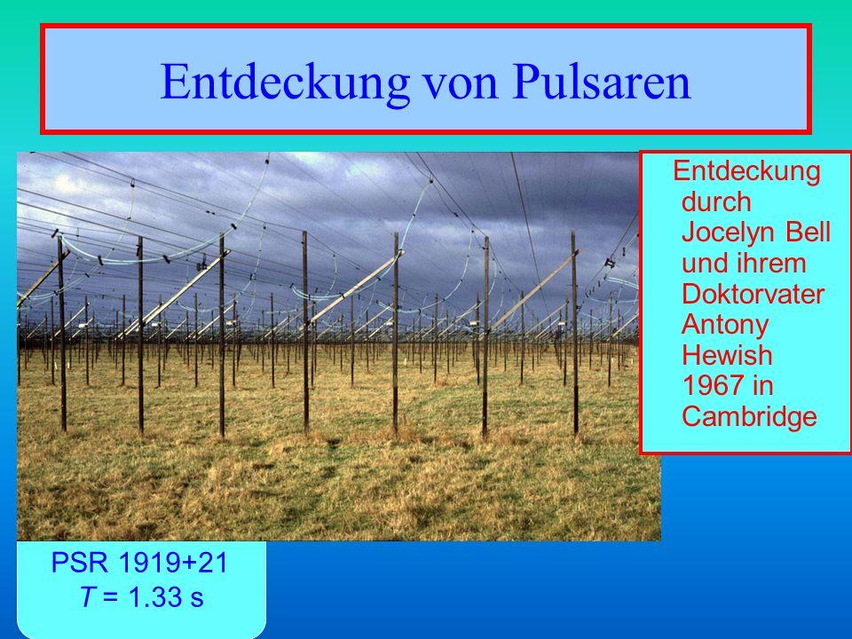Entdeckung von Pulsaren PSR 1919+21 T = 1.33 s Entdeckung durch Jocelyn Bell und ihrem Doktorvater Antony Hewish 1967 in Cambridge