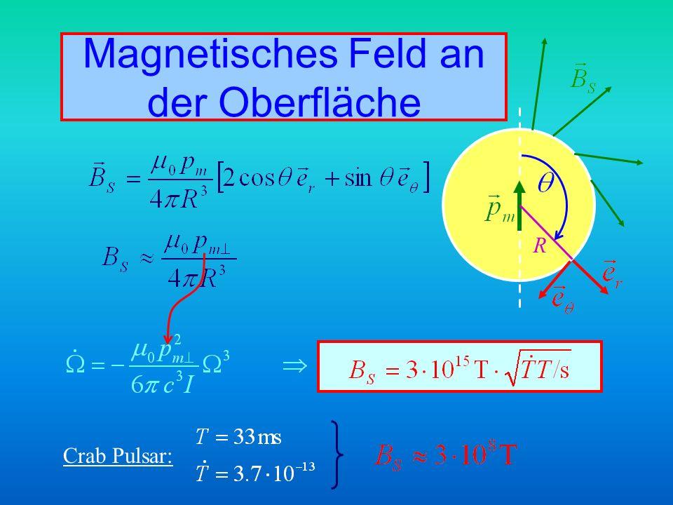 Magnetisches Feld an der Oberfläche Crab Pulsar: R