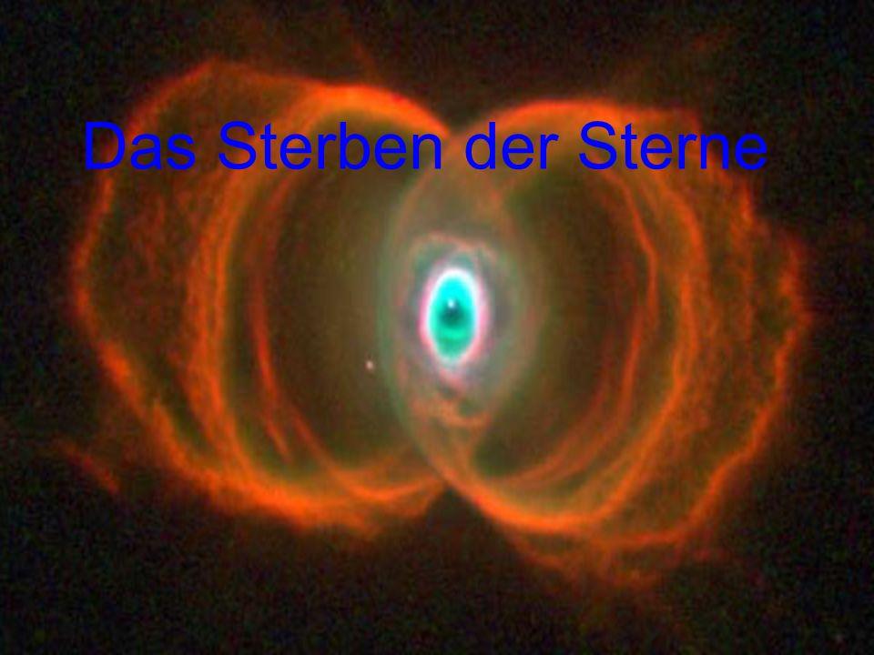 WasserstoffbrennenDauer: 7·10 6 a T60·10 6 K HeliumbrennenDauer: 5·10 5 a T230·10 6 K ρ5 g cm -3 ρ7·10 2 g cm -3 KohlenstoffbrennenDauer: 6·10 2 a T930·10 6 K ρ2·10 5 g cm -3 NeonbrennenDauer: 1·10 0 a T1.7·10 9 K ρ4·10 6 g cm -3 SauerstoffbrennenDauer: 6 Monate T2.3·10 9 K ρ1·10 7 g cm -3 SiliziumbrennenDauer: 1 d T4.1·10 9 K ρ3·10 7 g cm -3 KernkollapsDauer: sek T8.1·10 9 K ρ3·10 9 g cm -3 KernrückprallDauer: msek T34.8·10 9 K ρ3·10 14 g cm -3