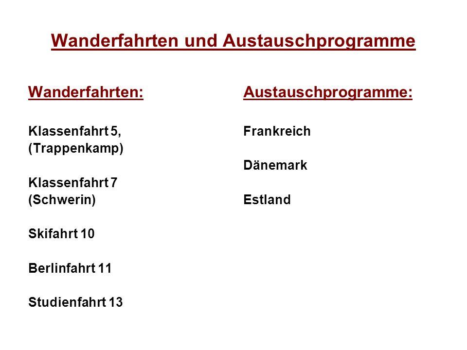 Wanderfahrten und Austauschprogramme Wanderfahrten: Klassenfahrt 5, (Trappenkamp) Klassenfahrt 7 (Schwerin) Skifahrt 10 Berlinfahrt 11 Studienfahrt 13