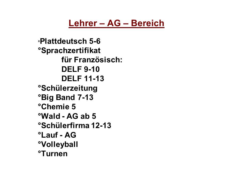 Lehrer – AG – Bereich ° Plattdeutsch 5-6 °Sprachzertifikat für Französisch: DELF 9-10 DELF 11-13 °Schülerzeitung °Big Band 7-13 °Chemie 5 °Wald - AG a
