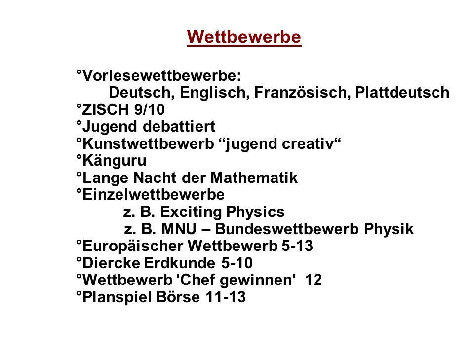 Wettbewerbe °Vorlesewettbewerbe: Deutsch, Englisch, Französisch, Plattdeutsch °ZISCH 9/10 °Jugend debattiert °Kunstwettbewerbjugend creativ °Känguru °