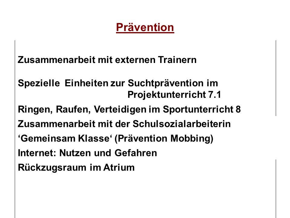 Prävention Zusammenarbeit mit externen Trainern Spezielle Einheiten zur Suchtprävention im Projektunterricht 7.1 Ringen, Raufen, Verteidigen im Sportu