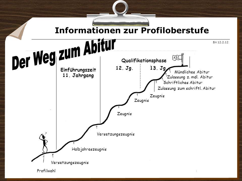 Informationen zur Profiloberstufe Bn 12.2.12 Profilwahl Versetzungszeugnis Halbjahreszeugnis Einführungszeit 11.