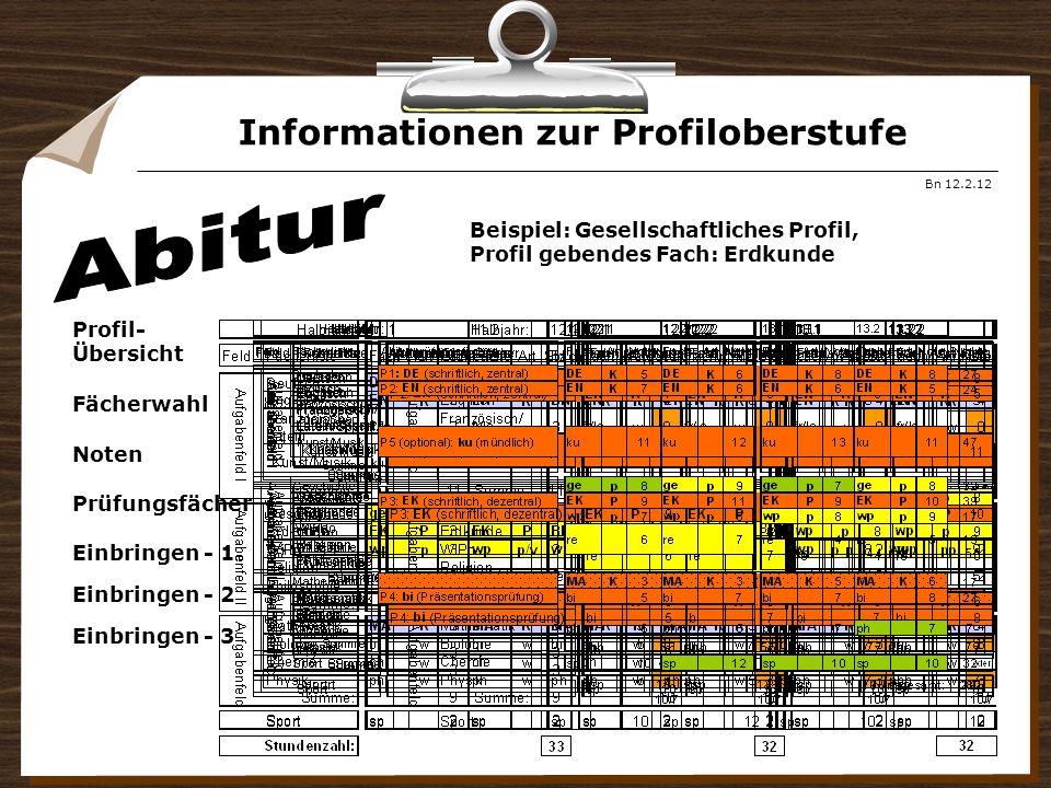 Informationen zur Profiloberstufe Bn 12.2.12 Beispiel: Gesellschaftliches Profil, Profil gebendes Fach: Erdkunde Profil- Übersicht Fächerwahl Noten Pr