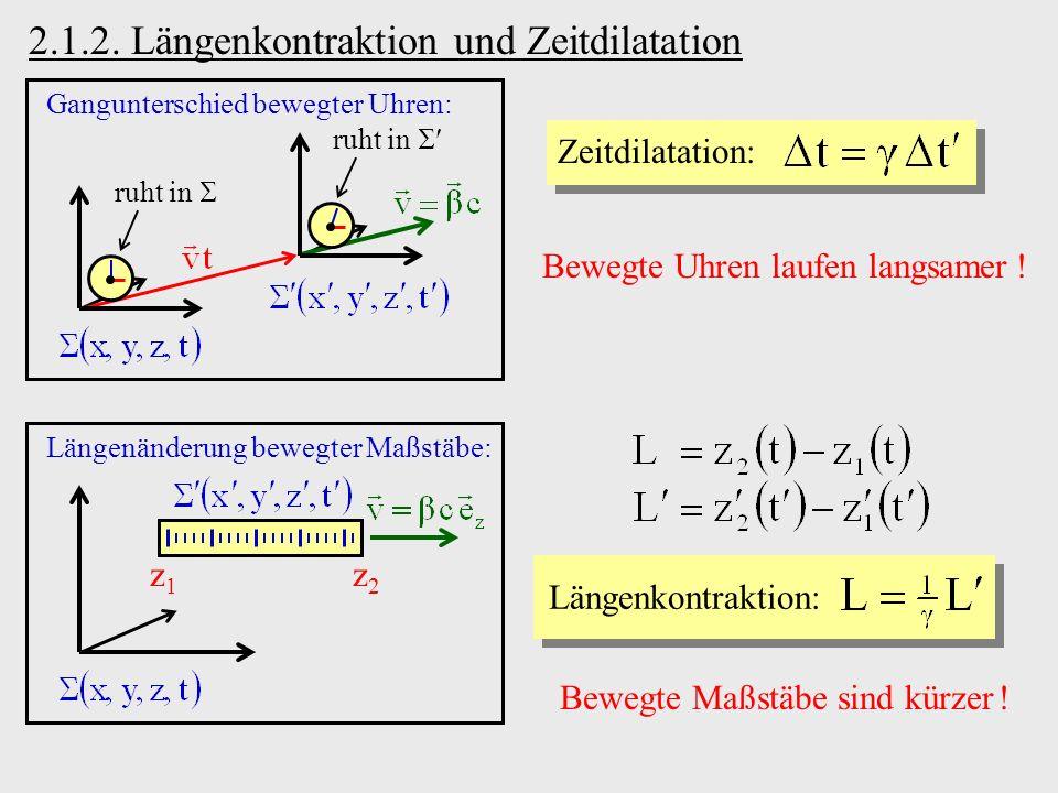 2.1.2. Längenkontraktion und Zeitdilatation Zeitdilatation: Gangunterschied bewegter Uhren: ruht in Bewegte Uhren laufen langsamer ! Längenänderung be