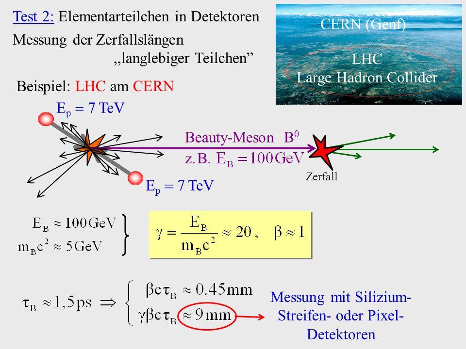 Test 2: Elementarteilchen in Detektoren Messung mit Silizium- Streifen- oder Pixel- Detektoren Messung der Zerfallslängen,,langlebiger Teilchen LHC La