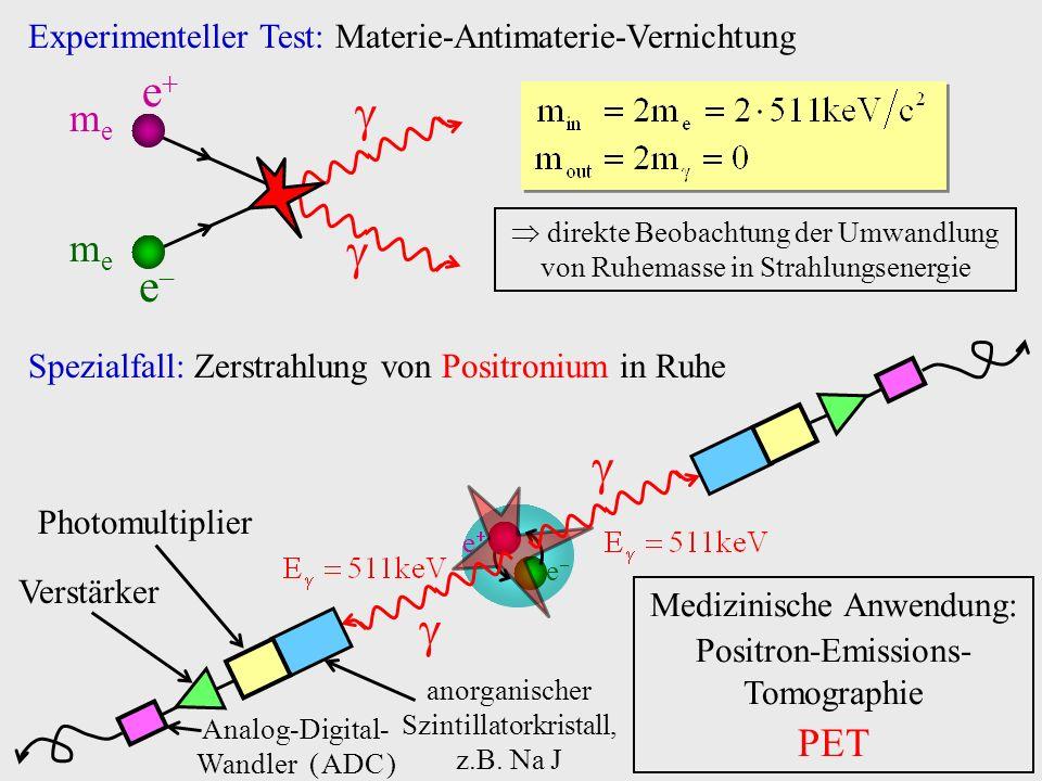Experimenteller Test: Materie-Antimaterie-Vernichtung e meme meme e direkte Beobachtung der Umwandlung von Ruhemasse in Strahlungsenergie Spezialfall: