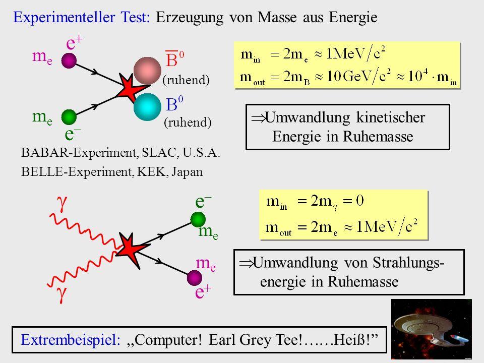 Experimenteller Test: Erzeugung von Masse aus Energie e meme meme e Umwandlung kinetischer Energie in Ruhemasse BABAR-Experiment, SLAC, U.S.A. BELLE-E