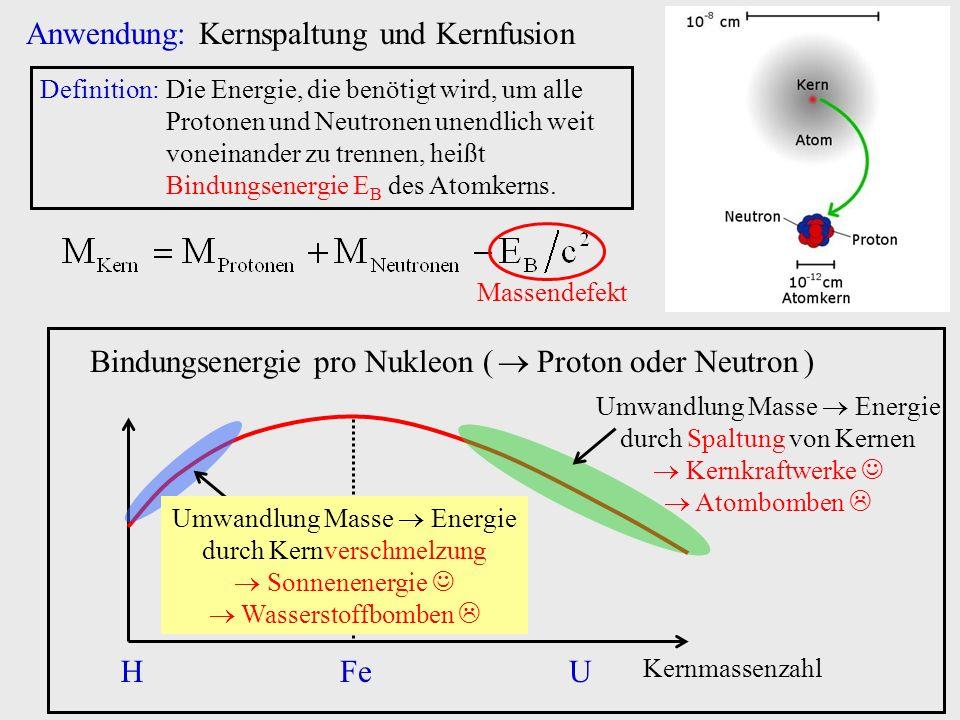 Anwendung: Kernspaltung und Kernfusion Definition:Die Energie, die benötigt wird, um alle Protonen und Neutronen unendlich weit voneinander zu trennen