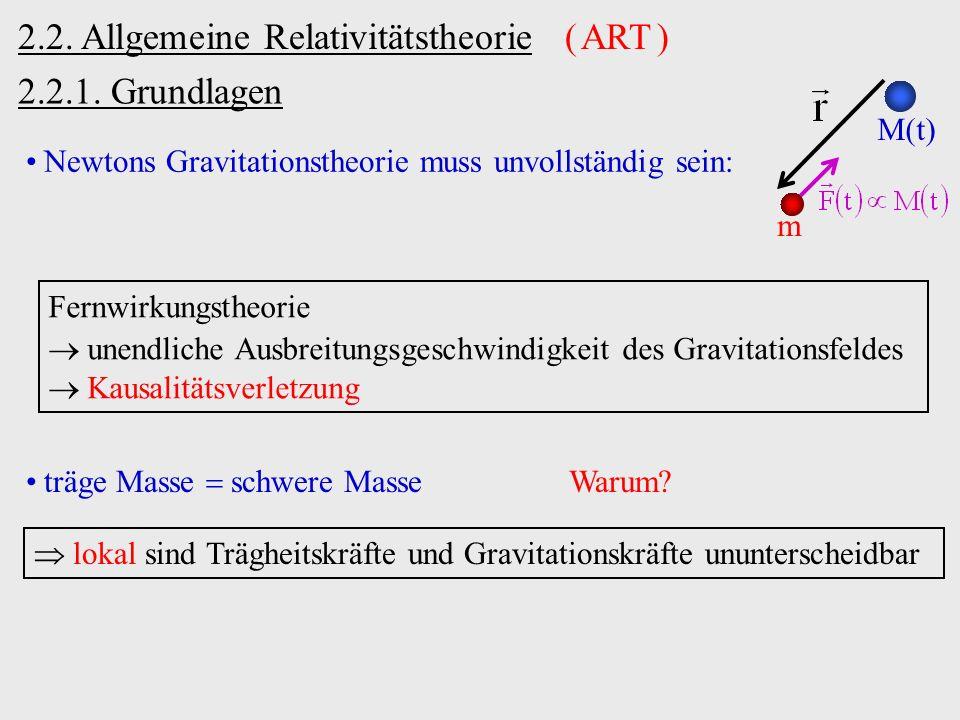 2.2.1. Grundlagen 2.2. Allgemeine Relativitätstheorie ( ART ) Newtons Gravitationstheorie muss unvollständig sein: m M(t) Fernwirkungstheorie unendlic