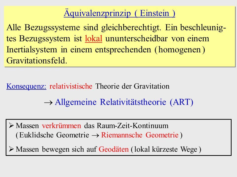 Äquivalenzprinzip ( Einstein ) Alle Bezugssysteme sind gleichberechtigt. Ein beschleunig- tes Bezugssystem ist lokal ununterscheidbar von einem Inerti