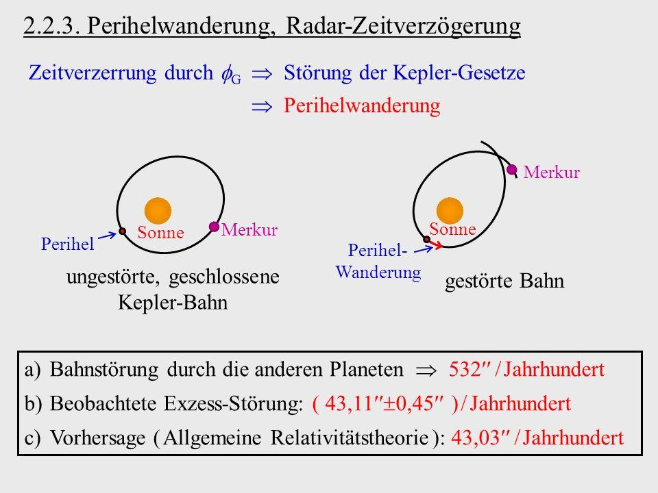 2.2.3. Perihelwanderung, Radar-Zeitverzögerung Zeitverzerrung durch G Störung der Kepler-Gesetze Perihelwanderung Sonne Merkur ungestörte, geschlossen