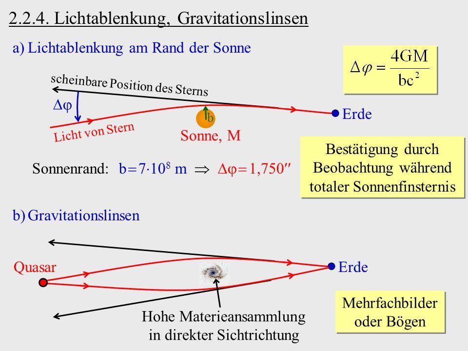 2.2.4. Lichtablenkung, Gravitationslinsen Licht von Stern Sonne, M Erde scheinbare Position des Sterns b a)Lichtablenkung am Rand der Sonne Sonnenrand