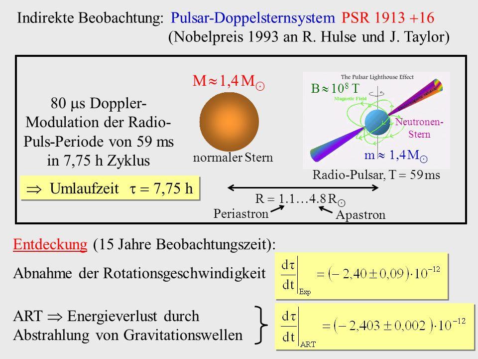 Indirekte Beobachtung: Pulsar-Doppelsternsystem PSR 1913 (Nobelpreis 1993 an R. Hulse und J. Taylor) Entdeckung (15 Jahre Beobachtungszeit): Abnahme d