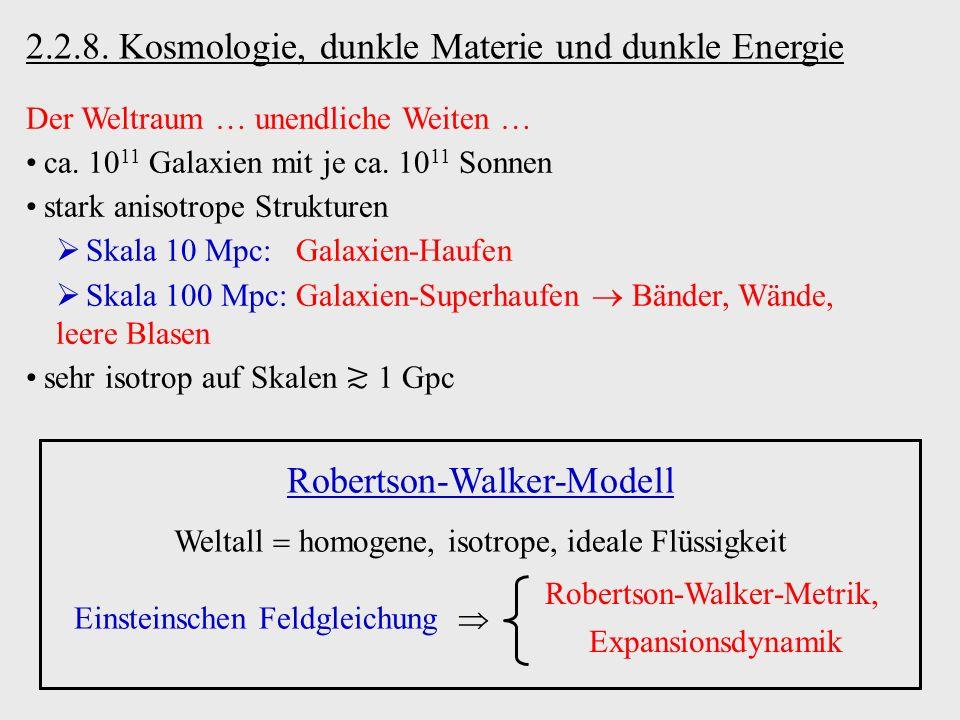 2.2.8. Kosmologie, dunkle Materie und dunkle Energie Der Weltraum unendliche Weiten ca. 10 11 Galaxien mit je ca. 10 11 Sonnen stark anisotrope Strukt