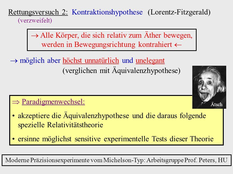 Rettungsversuch 2: Kontraktionshypothese (Lorentz-Fitzgerald) (verzweifelt) Alle Körper, die sich relativ zum Äther bewegen, werden in Bewegungsrichtu
