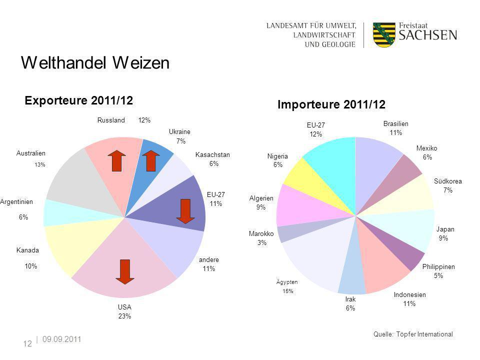   09.09.2011 12 Welthandel Weizen andere 11% USA 23% Kanada 10% Argentinien 6% Australien 13% Ukraine 7% Kasachstan 6% EU-27 11% Russland12% Exporteur