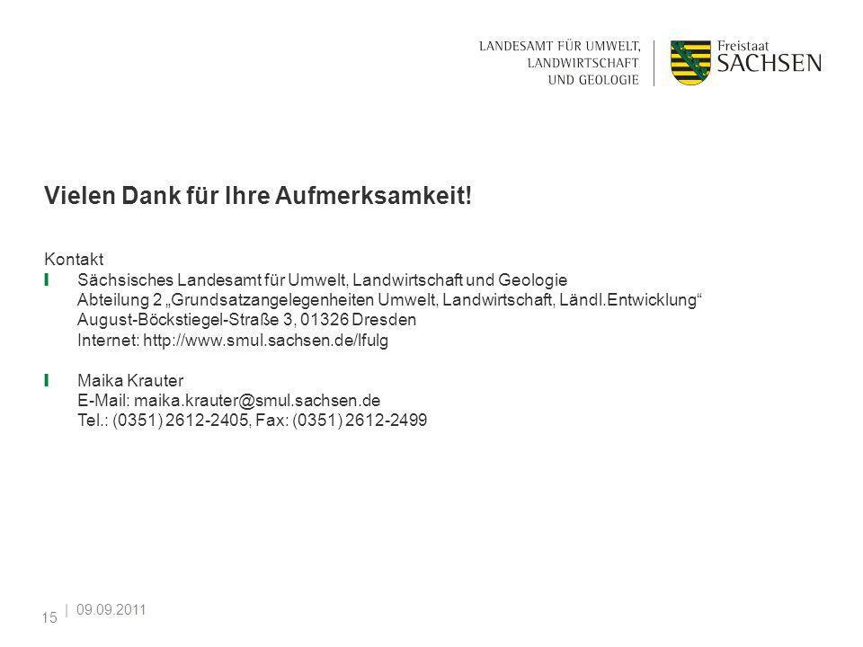 | 09.09.2011 15 Vielen Dank für Ihre Aufmerksamkeit! Kontakt Sächsisches Landesamt für Umwelt, Landwirtschaft und Geologie Abteilung 2 Grundsatzangele