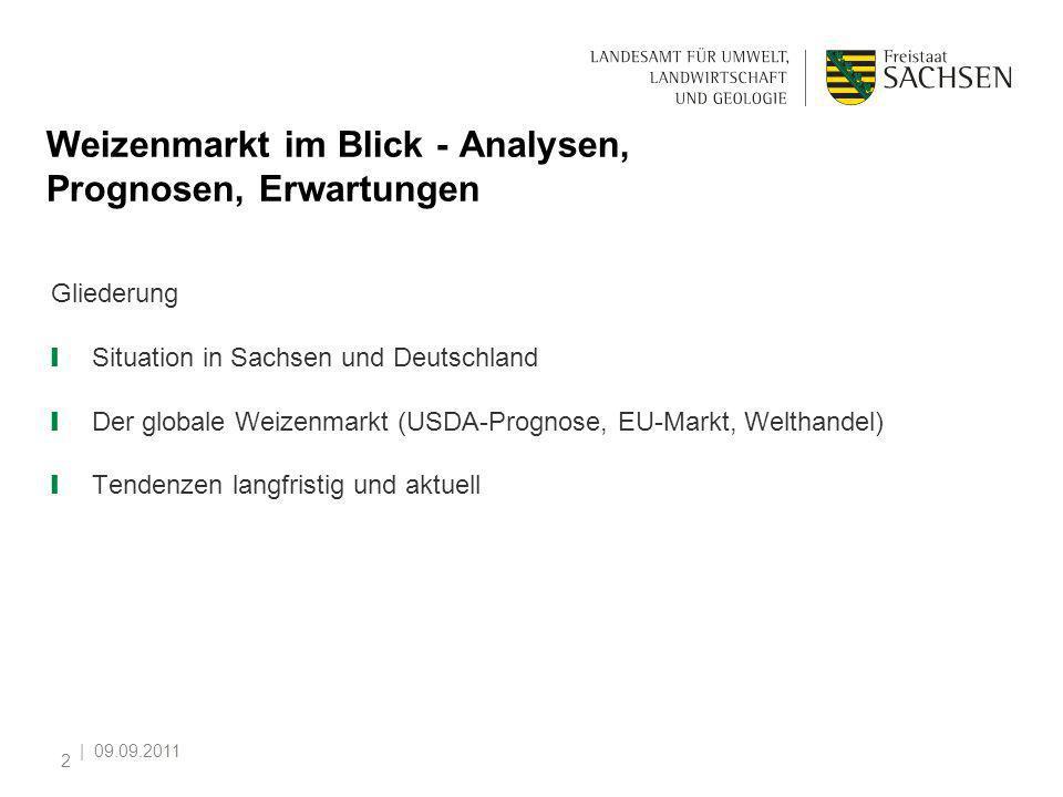   09.09.2011 2 Weizenmarkt im Blick - Analysen, Prognosen, Erwartungen Gliederung Situation in Sachsen und Deutschland Der globale Weizenmarkt (USDA-P