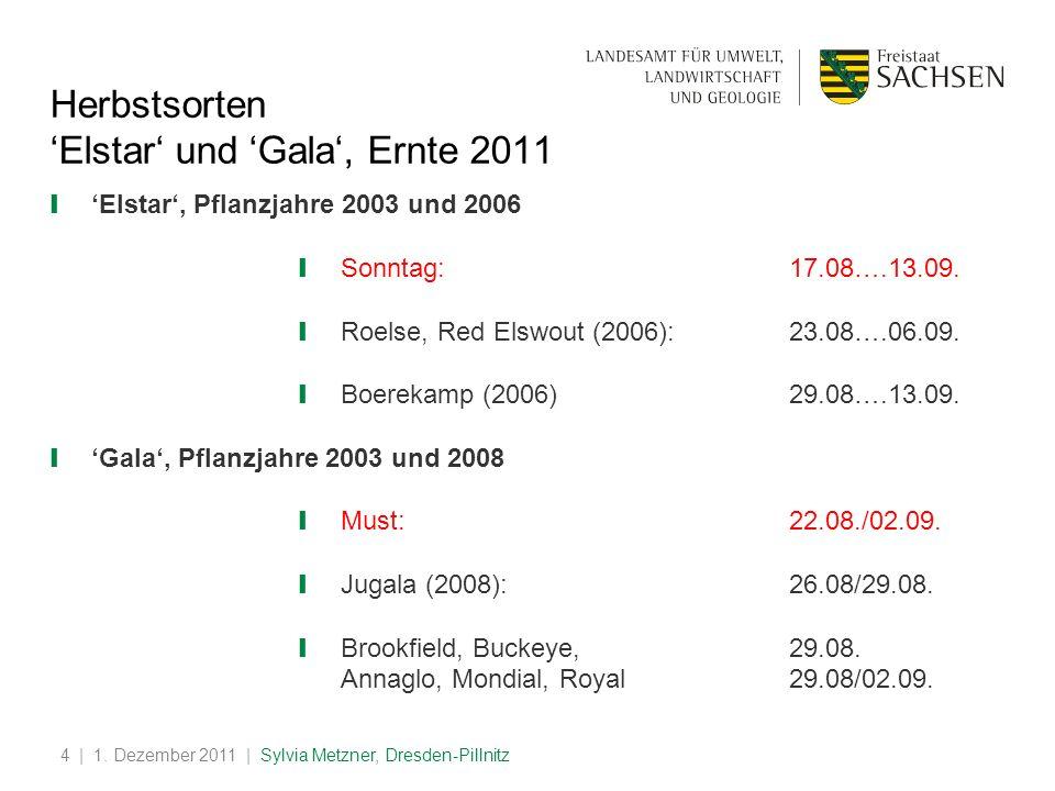 | 1. Dezember 2011 | Sylvia Metzner, Dresden-Pillnitz4 Elstar und Gala, Ernte 2011 Elstar, Pflanzjahre 2003 und 2006 Sonntag:17.08….13.09. Roelse, Red