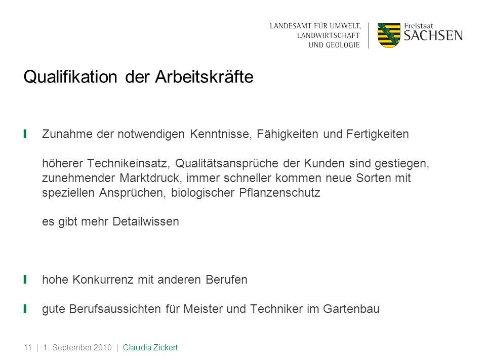 | 1. September 2010 | Claudia Zickert11 Qualifikation der Arbeitskräfte Zunahme der notwendigen Kenntnisse, Fähigkeiten und Fertigkeiten höherer Techn
